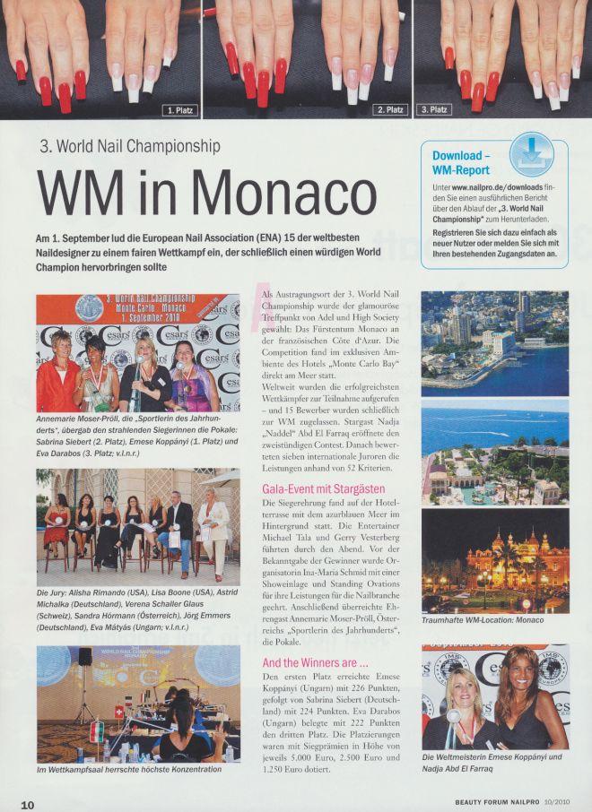 Nailpro Oktober 2010 3th World Nail Championship Monaco